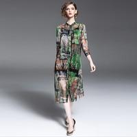 2017 Spring Silk Shirt Dress Europe Style Floral Women Dress Button Landscape Painting Robe Women S
