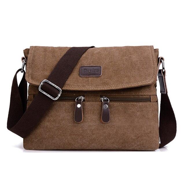 Men 's canvas shoulder bag multi - functional men' s travel leisure diagonal package solid color zipper handbag packaging