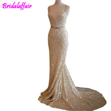 2018 Shinning Sequined Mermaid Prom Dresses Long Sexy Spaghetti Sweep Train Custom Made Formal Wear Party Evening Gowns