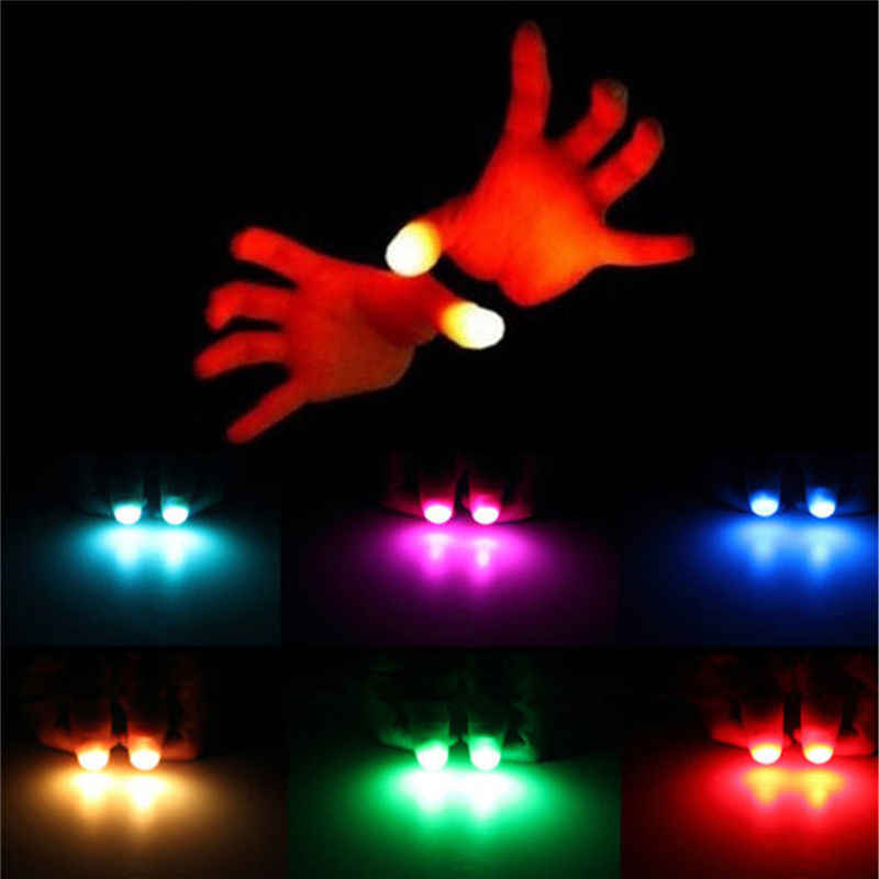 Anak-anak Luar Biasa Fantastis Glow Mainan Anak Bercahaya Hadiah Dekorasi Baru Lucu LED Light Berkedip Jari Magic Trick Alat Peraga 1 Pair