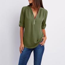 Spring Autumn Casual Female Chiffon Shirt Blouse Women Ladies Zipper Button Long Sleeves Loose Chiffon Shirt Clothing Blouse