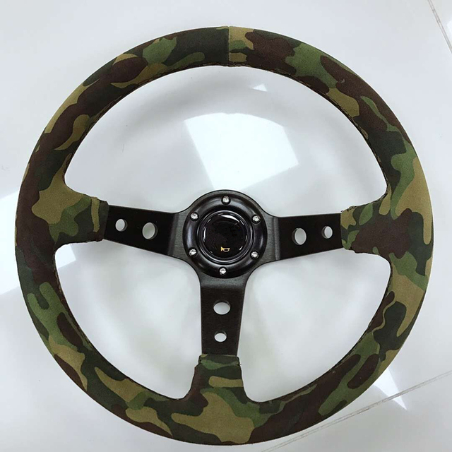 2019 new matte leather steering wheel / car 14 inch steering wheel / racing universal steering wheel camouflage