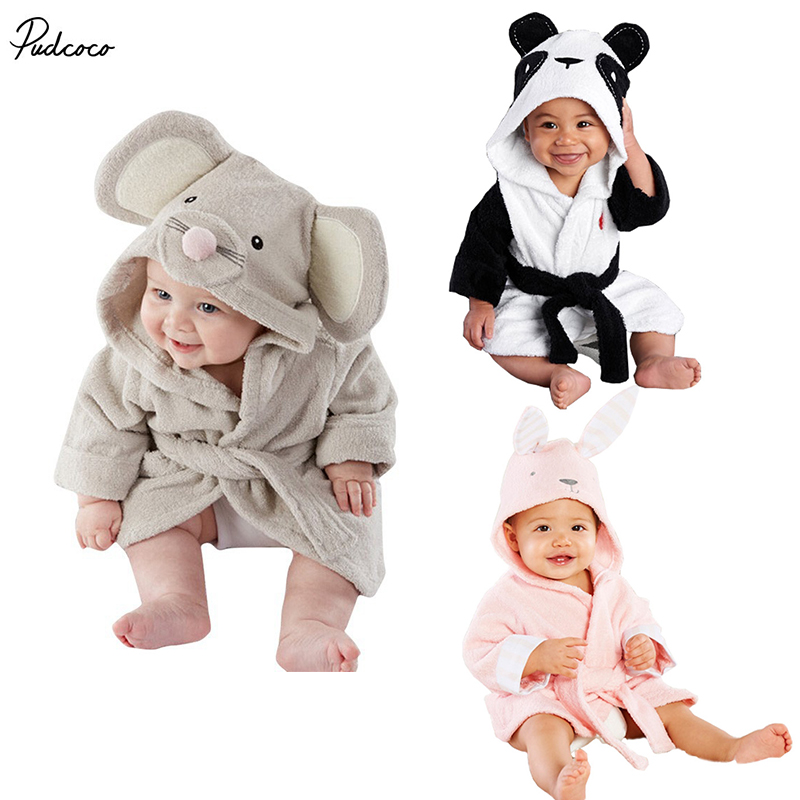 2017 Hot Cartoon Animal Baby Hooded Bathrobe Bath Towel Bath Terry Bathing Robe