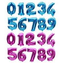 Новинка, воздушные шары из фольги в форме цифр высотой в 32 дюйма голубого, розового и красного цветов, воздушные шары в форме цифр, аксессуары для мероприятий и Дня рождения, свадебные украшения, воздушные шары