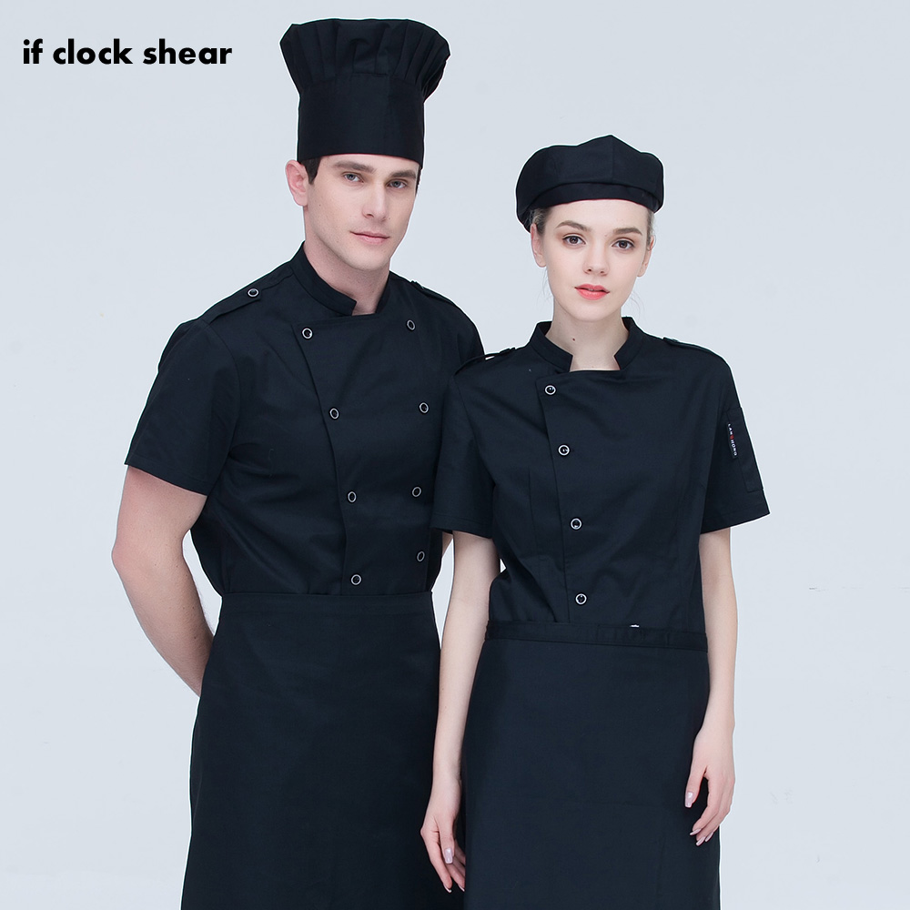 Short Sleeves Chef Jackets High Quality Double Breasted Chef Uniforms Restaurant Catering Bakery Cake Coffee Shop Cooker Clothes