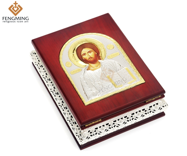 Wood Craft gift box case of Silver Greek Orthodox Church religious icon Lord Jesus Christ for