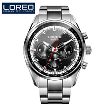 LOREO Germany watches men luxury brand speed motor racing military watch multifunction Chronograph gray stainless steel
