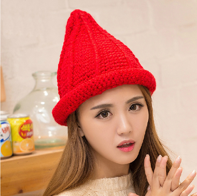 New Women Fashion Witch Hat Hand Knit Adult High Top Yarn Hat Skullies & Beanies
