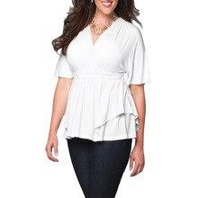 Sexy Autumn 3XL 4XL 5XL 6XL Plus Size Women Shirts V Neck Casual Work Office Party White Tops Ruffle Blouses White Shirt Blusas