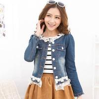 New Women S Sweet Fashion Lace Slim Denim Jacket Stitching Casual Lace Jeans Short Coat T395