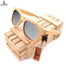 BOBO VOGEL männer Holz Bambus Sonnenbrille Polarisierte UV400 Schutz Holz Glasrahmen Mit Bunten Objektiv In Holz Box