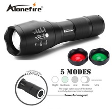 AloneFire Tactical LED Flashlight Hunting Flashlight E17 G700 Focusable 3 colors Exchange Glass Lens (RED or GREEN light )