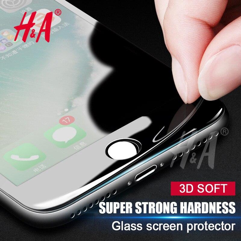 H & A Full S Creen P Rotectorคาร์บอนไฟเบอร์กระจกสำหรับiPhone 6 6วินาทีกรณีนุ่ม3Dโค้งฝาครอบแก้วสำหรับiPhone 7กรณีฟิล์ม