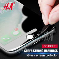 H&A Full Screen Protector carbon fiber Tempered Glass For iPhone 6 6s case Soft 3D Curved Cover GLass for iPhone 7 case Film
