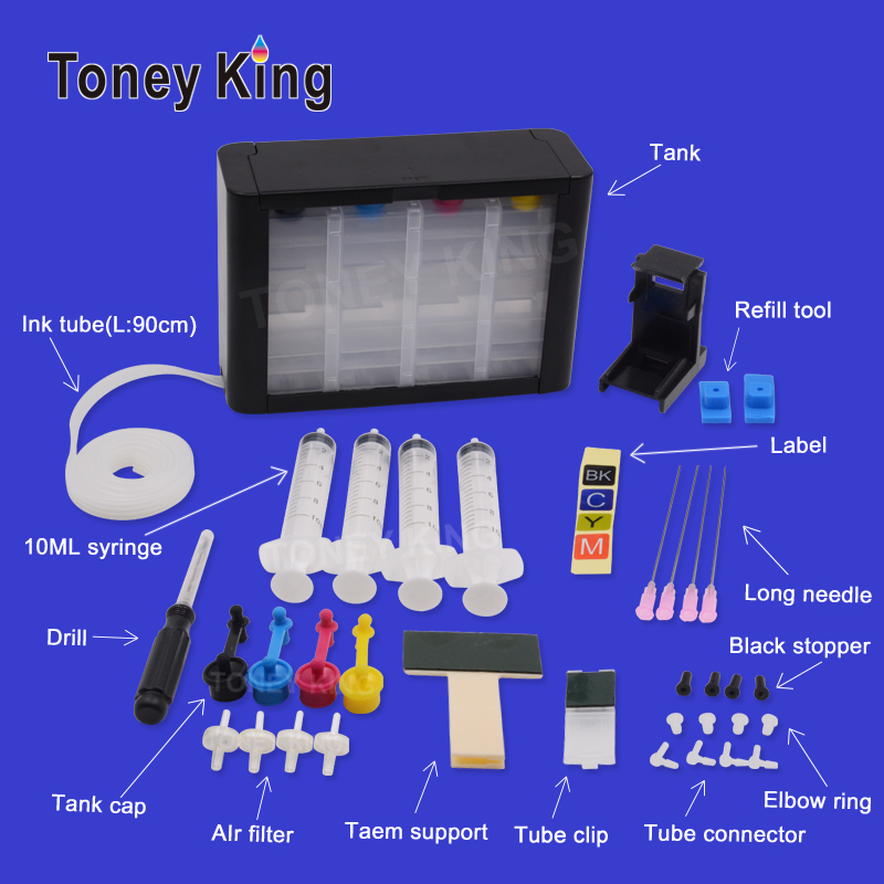 Toney King Ciss ink Tank Print Continuous System With Ink Tube For HP 62 62XL cartridge Envy 5640 OfficeJet 200 5540 5740 7640(China)