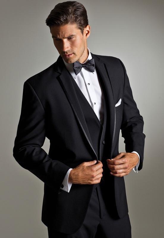 New Style One Button Black Groom Tuxedos Notch Lapel Groomsmen Best Man Mens Wedding Suits ( Jacket+Pants+vest+tie)