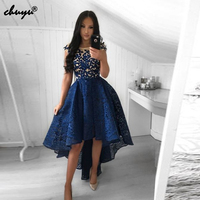 Sexy High low Lace Navy Illusion Homecoming Dresses 2019 Formal Party Dresses Lace vestido graduacion Cocktail Dress