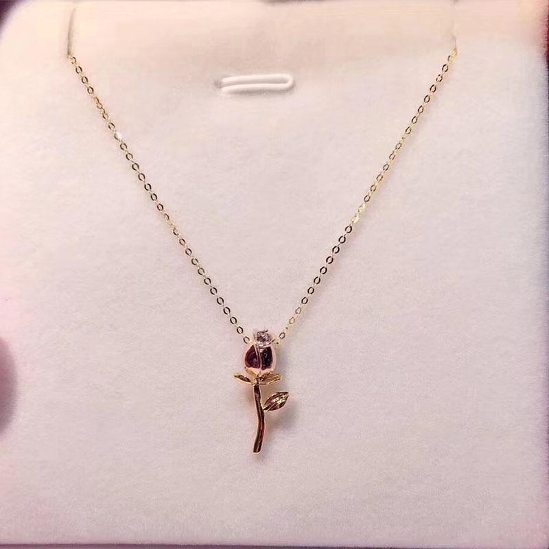ANI 18 K collier pendentif en or Rose forme Rose pendentif bijoux fins femmes fiançailles avec chaîne collier cadeau pour proposition