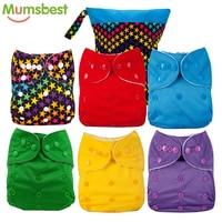[Mumsbest] влажная сумка + 6 пеленки милые детские подгузники многоразовые влажные памперсы, тканевые Подгузники моющиеся Младенцы Детские Подг...