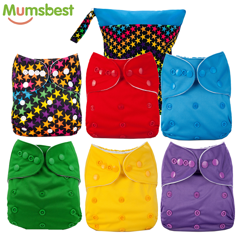 [Mumsbest] Wet Bag + 6 Diaper Cute Baby Diapers Reusable Nappies Cloth Diaper Washable Infants Children Baby  Nappies Stars