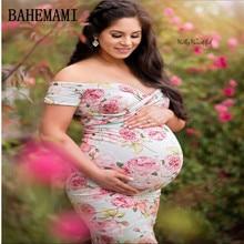 Φόρεμα μητρότητας για φωτογραφία Φωτογράφηση Boat εκτύπωση λαιμού Φόρεμα Materhood Φωτογραφία Props Κοντό μανίκι Stretch βαμβάκι Έγκυος Dres