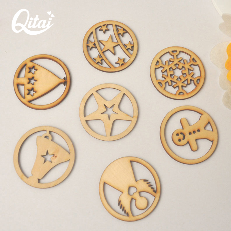 QITAI 84 Pieces / lot 2017 Wooden Home Decorations DIY - 가정 장식