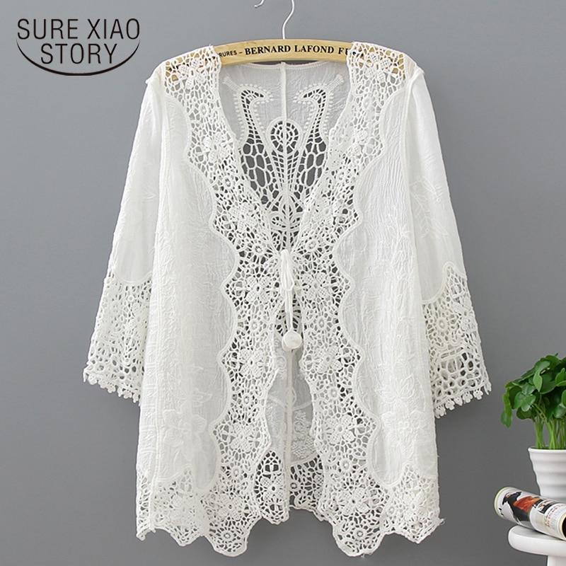 new 2018 fashion white hollow lace   blouse   women   shirt   loose plus size summer ladies tops lace women   blouse     shirt   blusas 0321 40