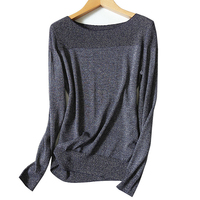 Bright Silk Clip Yarns Blend Knit Woman S Spring Fashion Basics Pullover Sweater Slash Neck High