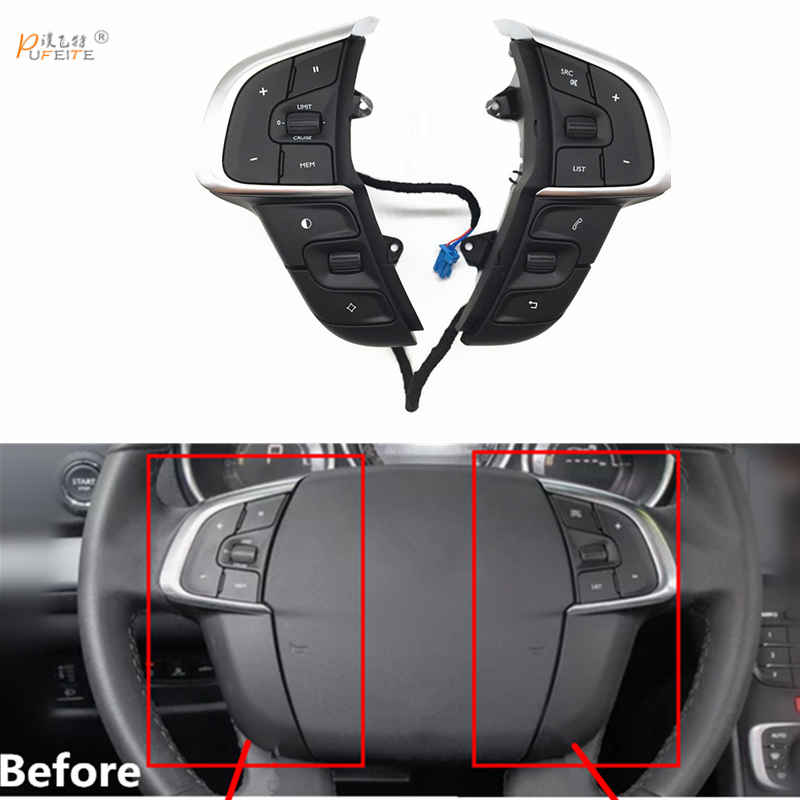 free shipping Steering Wheel Switch For Citroen C4 2013 Car Multifunction Cruise Control Button Phone Volume