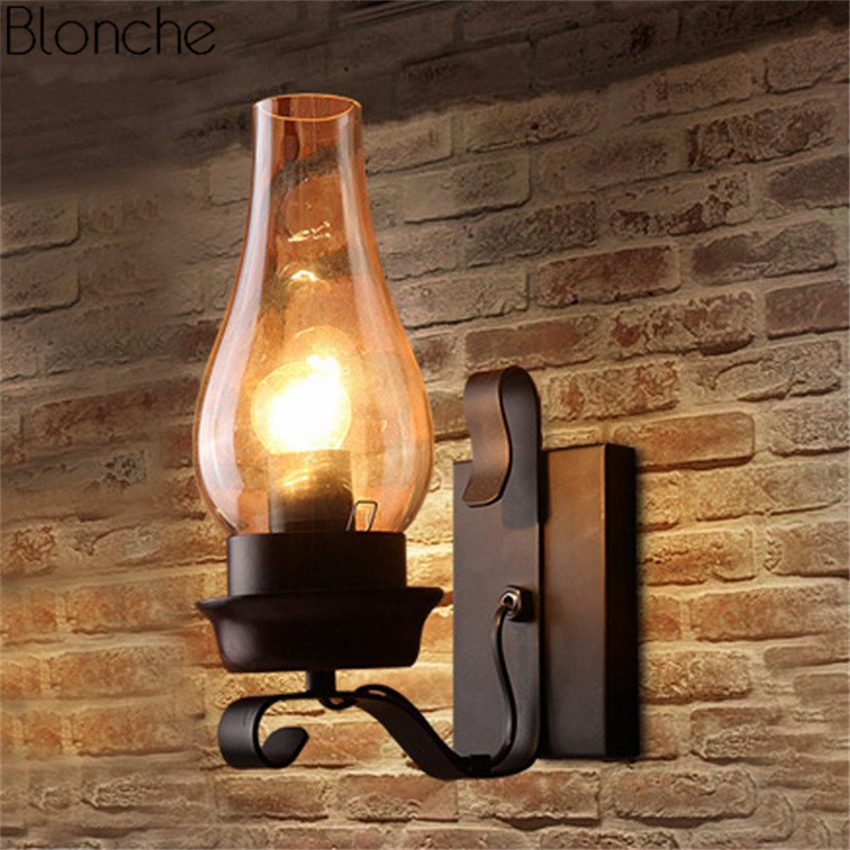 American Retro Kerosene Wall Lamp Glass Lampshade Wall Sconce Loft Metal Lights for Restaurant Bar Stair Light Industrial Decor|LED Indoor Wall Lamps| |  - title=