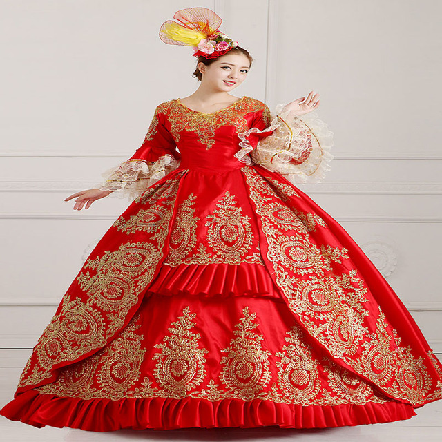 18th Century Red V-Neck Rococo Princess Dress Halloween Gold Appliques Lace  Marie Antoinette Ball Gowns For Women Customized 65a2aab54