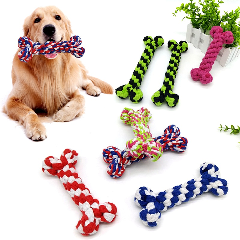 Toy For Dog Cotton Knot Bone Toys Pet Outdoor Training Dog ...