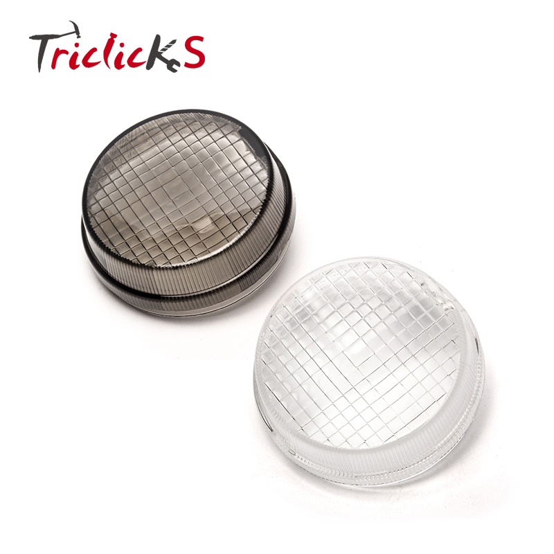 Triclicks Smoke Turn Signal Lights Lens Round Cover Motorcycle Light Covers For Kawasaki Vulcan 2000 1600 Classic Honda Cruisers