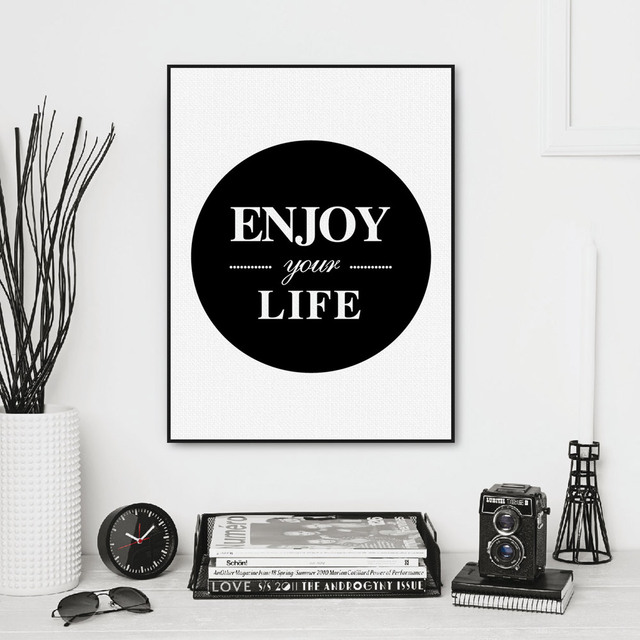 Minimalist black white enjoy life typography quote art print poster wall picture living room canvas painting