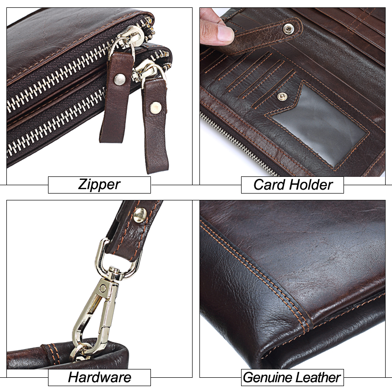 MISFITS Men brand Organizer wallets genuine leather double zipper clutch bag man cow leather Long purse Multi function phone bag in Wallets from Luggage Bags