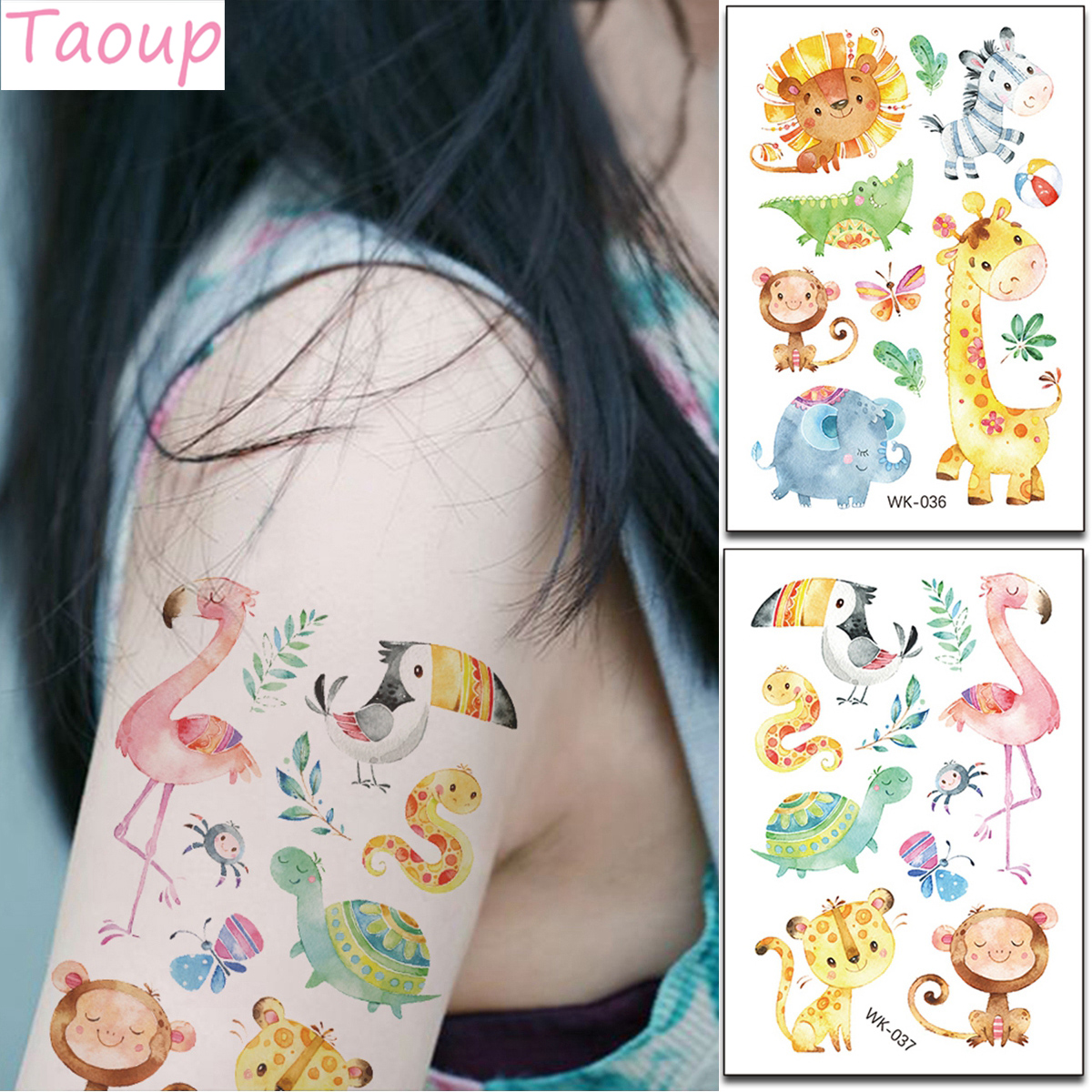 Taoup Cartoon Animals Tiger Pink Flamingo Stickers Flamingo Decor Favors Safari Jungle Party Supplies Baby Shower Decor Bithday