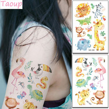 Taoup Cartoon Animals Tiger Pink Flamingo Stickers Flamingo Decor Favors Safari Jungle Party Supplies Baby Shower Decor Bithday(China)