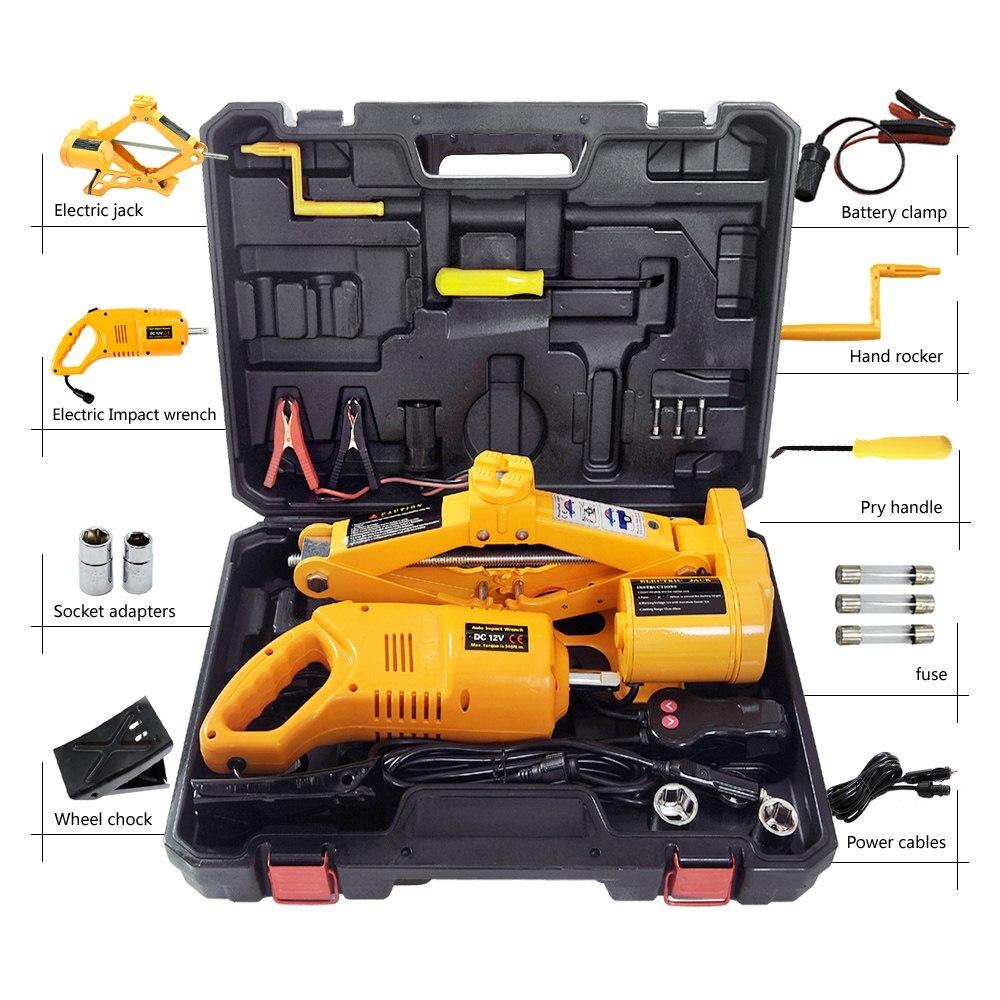 12V Car Electric Car Lift Hydraulic Jack Tire Repair Tools Scissor Electric Jack Auto Lifting Tools Jacks Impact Wrench Tool