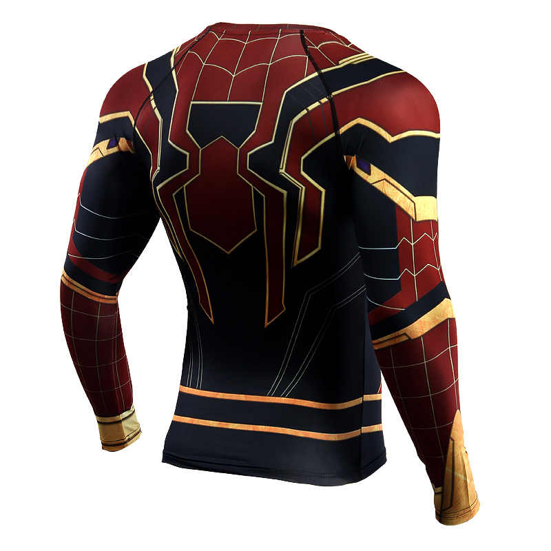 Camiseta de manga raglán Spiderman para correr, Camiseta deportiva de compresión de manga larga para hombre, Camiseta deportiva de gimnasio, camiseta de fútbol Rashgard