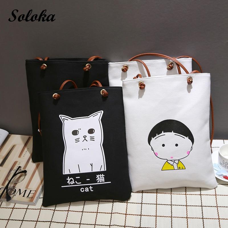 New Cute Girl Leisure Canvas Cartoon Printed Bags Cartoon Cat Beach Bags  Large Capacity Tote Women 58efa2b103d94