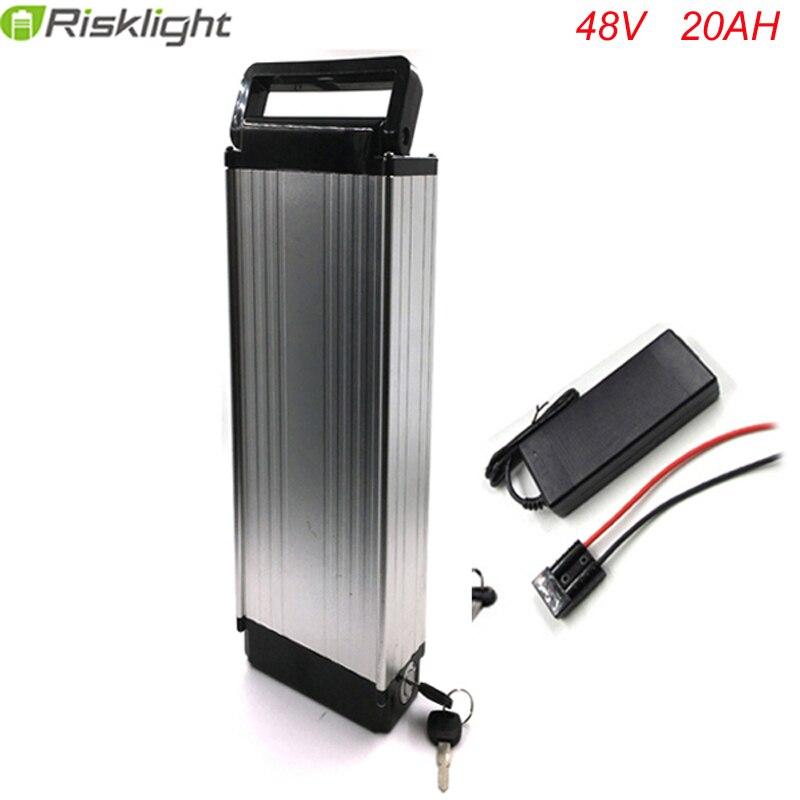 48 V 1000 W Argent arrière rack 48 v 20AH vélo électrique batterie 48 V batterie au lithium ebike batterie de bagages avec 54.6 V chargeur