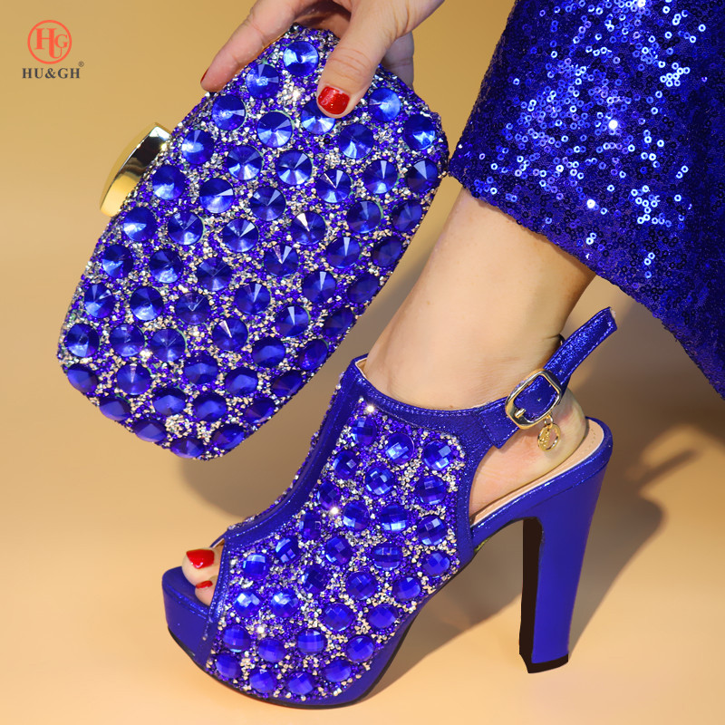 2018 New Royal Blue Color Newest Italian Shoes With Matching Bag Set African Women Party Shoes And Bag Set Women Wedding Sandals 2018 newest classic black color very beautiful african women shoes and bag set with more multicolored crystals for evening party