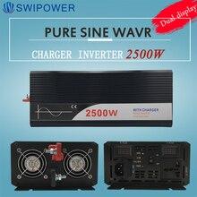 عاكس بمصدر طاقة غير منقطع 2500W نقي شرط موجة العاكس مع شاحن 12V 24V 48v DC إلى AC 220V 230V 240v الشمسية عاكس الطاقة
