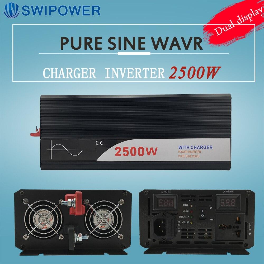 Ups onduleur 2500 W pur onduleur à onde sinusoïdale avec chargeur 12 V 24 V 48 v DC à AC 220 V 230 V 240 v solaire puissance onduleur