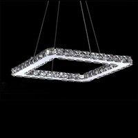 Square Crystal LED Pendant Light Fixture Crystal Lighting Led Pendant Lamp For Living Dinning Room Lustres