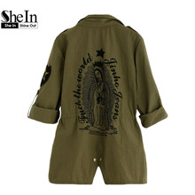 SheIn Army Green Printed Back Lapel Drawstring Waist Zipper Utility Coat Women Autumn Outerwear Classic Trench Coat
