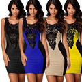 Women's Faux Leather Flower Lace Dress Cocktail Party Color Blocking Slim Dress