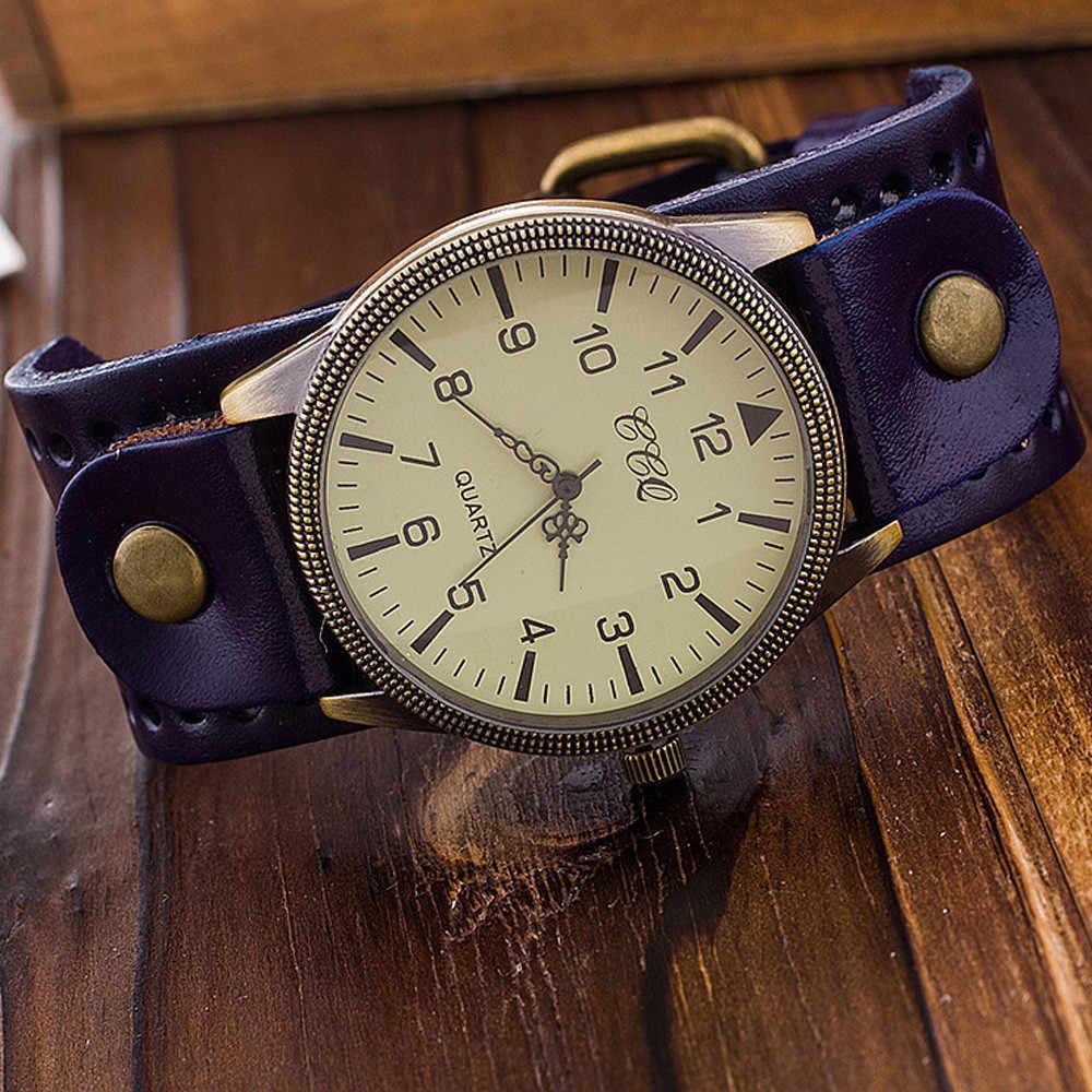 e7ac06903be ... CCQ Элитный бренд Винтаж кожаным ремешком Для мужчин Для женщин  наручные Женская одежда кварцевые часы