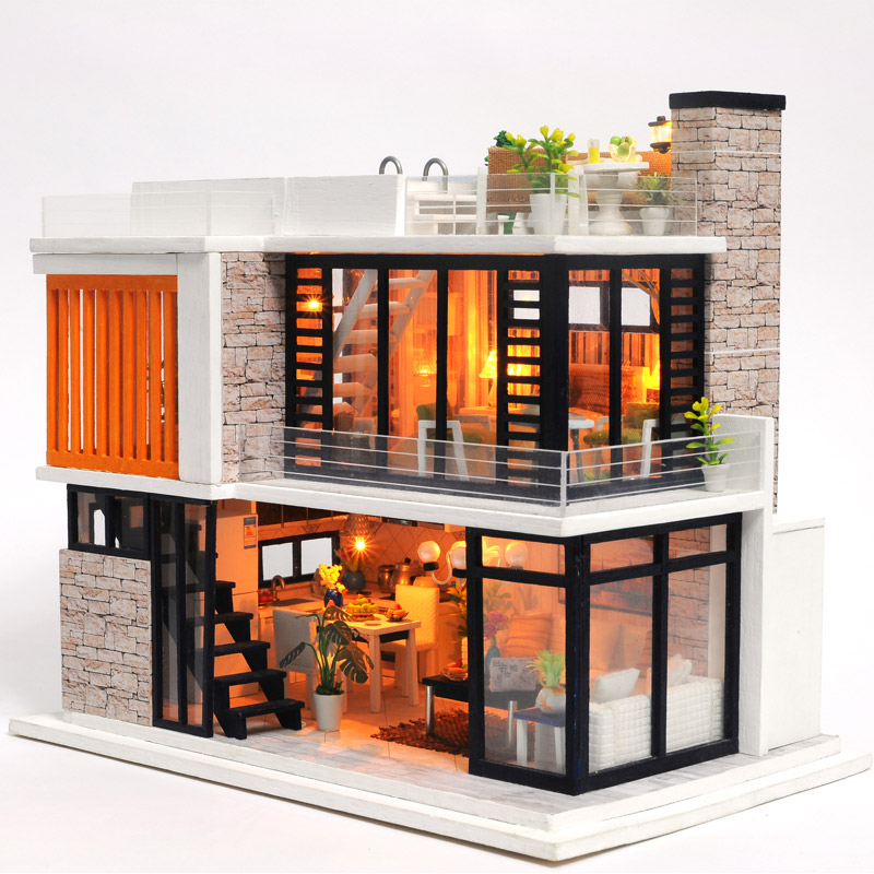 Doll house Miniature Wooden House Toy Puzzle Dollhouse Diy Kit Doll House Furniture Model Christmas Gift