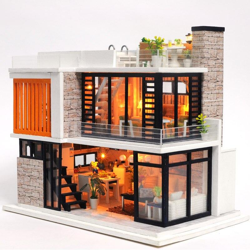 Maison de poupée Miniature maison en bois jouet Puzzle maison de poupée kit de bricolage maison de poupée meubles modèle cadeau de noël jouet pour enfants